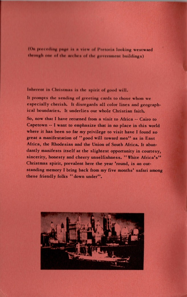 ADG - 1956 or 1957 Christmas Card - Africa Trip - inside cover