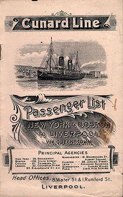01-FrontCover-250 Cunard Line Passwnger List