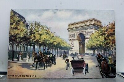 France-Paris-Arc-D-Triomphe-Postcard-Old-Vintage