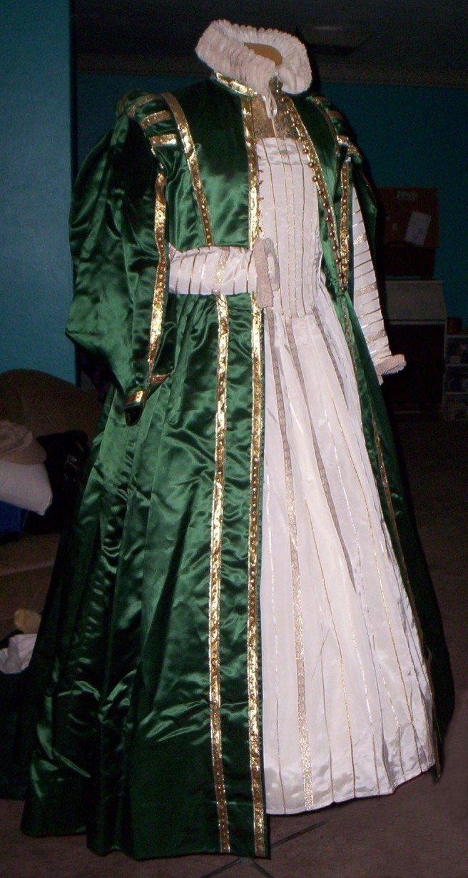 Complete ensemble with overgown open to show undergown bodice - side front view