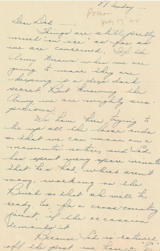 Army Life - Dear Dad - Things On Ice - July 17, 1944