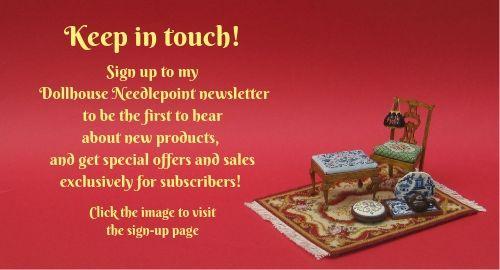 Dollhouse Needlepoint newsletter sign-up invitation